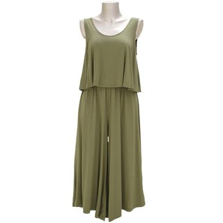 Adult sleeveless wide pants all-in-one <Khaki>