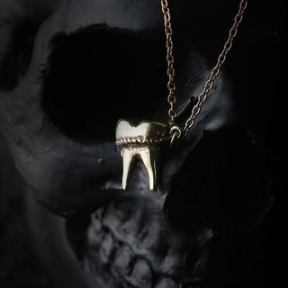 A Tooth - Three Roots - Charm Necklace - Brass Version by Defy.