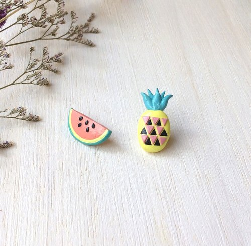 Mixed Fruit collection! Melon and Pineapple earrings, Fruit earrings, polymer clay, hand sculpted, hand painted with Acrylic colors.