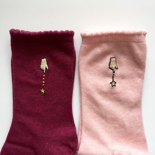 Bimu from hand! One-point embroidery socks [Rose Red]