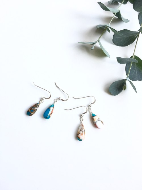 Oyester Copper Turquoise Earrings 14 kgf / SV 925