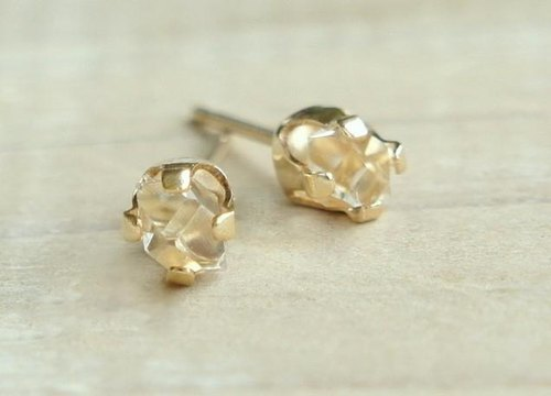 Herkimer Diamond stud earrings 14KGF