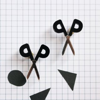Chikko scissors earrings / earrings - black