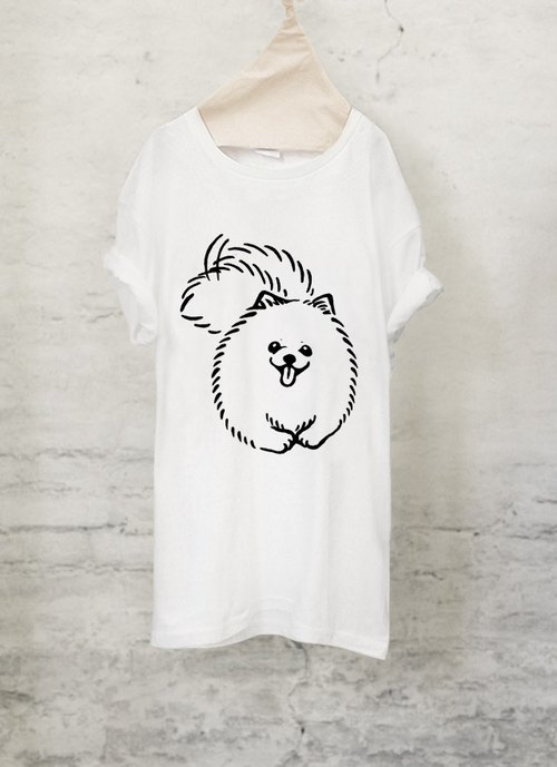 Pomeranian T-shirt [dog] Pomeranian T-shirt (White / Gray) [DOG]