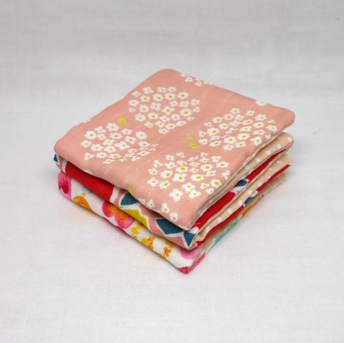 Japanese Handmade 6 layer of gauze mini-handkerchief / 3 pieces in 1unit