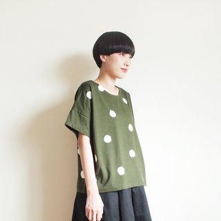polka dot cat crop t-shirt : khaki