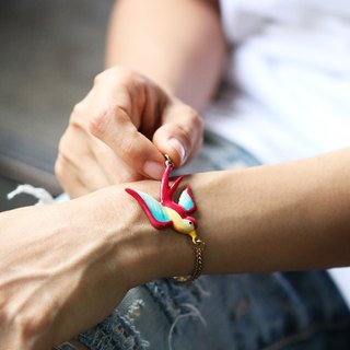 Hand-painted version - Swallow Bracelet with Toggle lock - Original design and made by Defy.