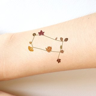Gemini The Twins Cute Zodiac sticker tattoo in Autumn leaves style.