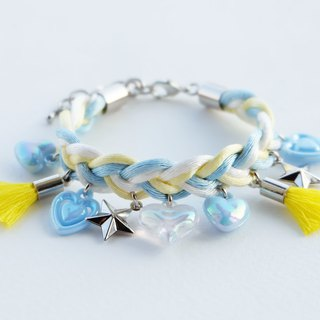 Sky blue/light yellow/white braided bracelet with charms