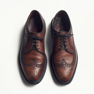 70s 美制雕花长翼纹布吕歇尔皮鞋|Bass Monogram Wingtip Blucher US 9D EUR 42