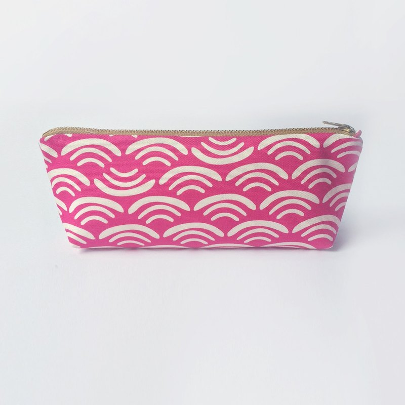 Pink  Pencil Case, Minimalist Canvas Zipper Pouch, Wave and Smile