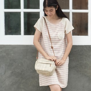 Cross-Body Bags Little Tan Midi Bags Hand woven Natural Color Hemp