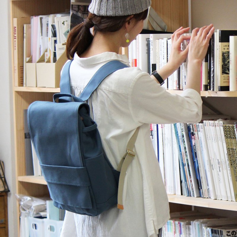 loiter: Blue gray Kurashiki canvas backpack