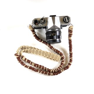 Fake leather and hemp hemp camera strap / belt