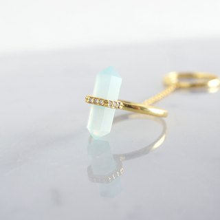 【Gold Vermeil / Gemstone】 Chain Linked Double Ring - Aqua Chalcedony / White Zircon -
