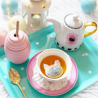 5 Pink Cat Shaped Tea Bags/Made in France, Tea Gifts, Looseleaf Tea, Cat Lovers