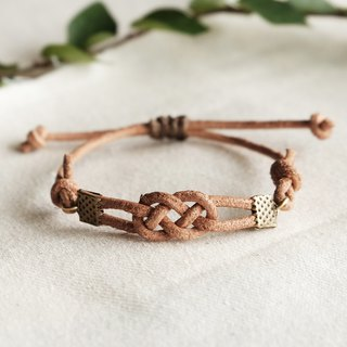 Infinity genuine leather in natural tan bracelet unisex adjustable bracelet
