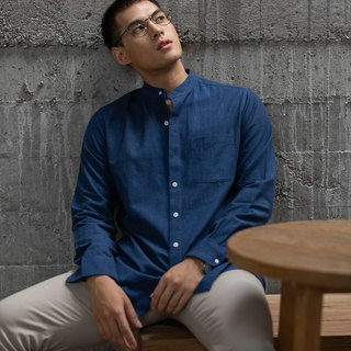JUN Indigo Dye Hand Woven Cotton Banded Collar Long Sleeve Shirt (Navy)