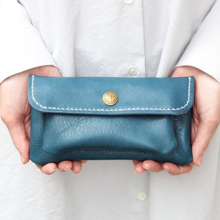 mare-wallet Duck Blue Tochigi Leather Purse