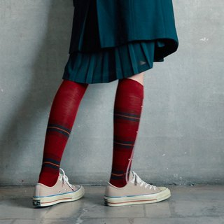 socks_poppy_tartan / irregular / socks / stripes / green / flower