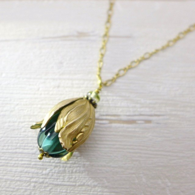 The fruit or flowerbud, Brass and glass necklace, Grayish blue, Vintage, Antique
