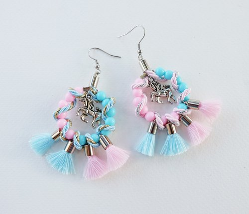 Unicorn pink sky blue circle earrings with tassels