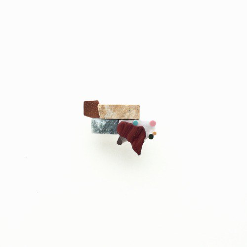 Mosaic, copper and marble mix brooches / tablets