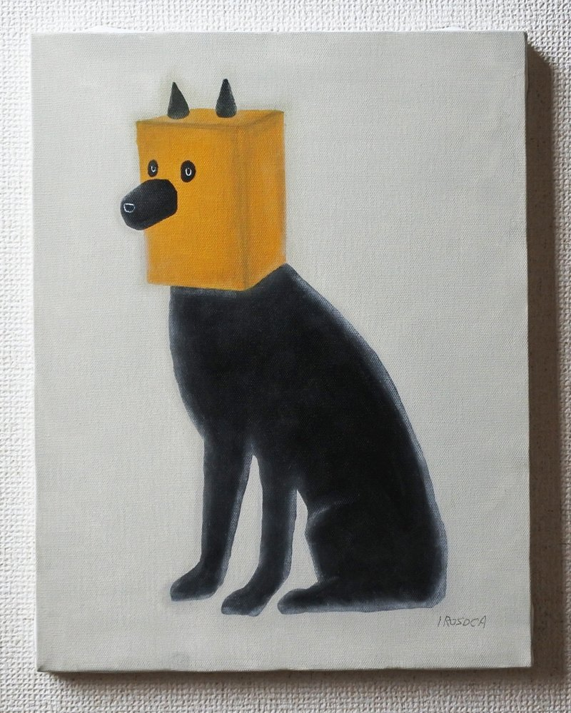 【IROSOCA】 Black dog wearing paper bag Canvas painting F6 size original picture