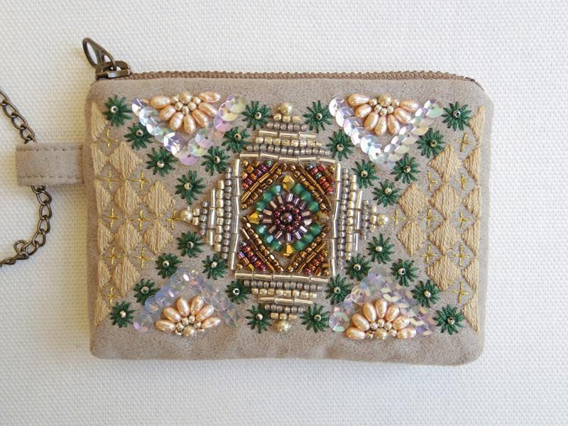 Geometric mini purse beige