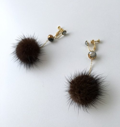 Chocolate mink ball and crystal beads earrings