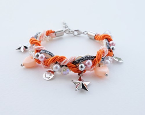 Smiley charms braided bracelet in orange color