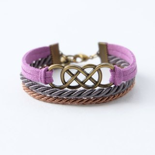 Brass double-infinity in Purple suede / Charcoal / Cinnamon