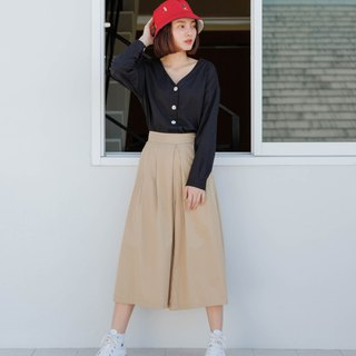 Wide Leg Pant Skirt in Khaki