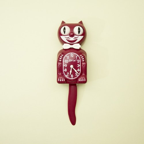 Kit-Cat Gentlemen Clock猫咪钟 – Burgundy/酒红