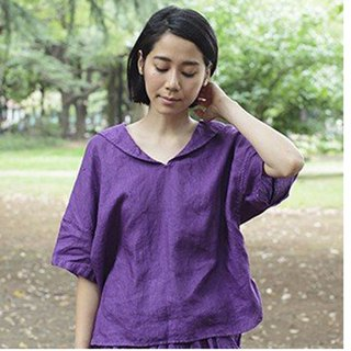 Botanical Dyed Sailor blouse Prune Log Wood Dyed 8411-03001