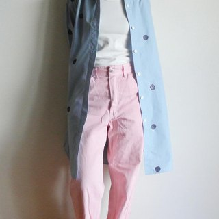 Long shirt gingham check light blue color <Dots and plums>