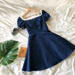 Puff sleeve dress summer dress denim floral lace swing dress tea vintage style