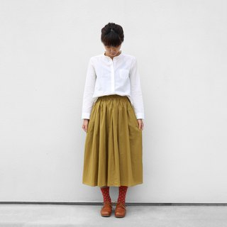 Loose cotton skirt [mustard]