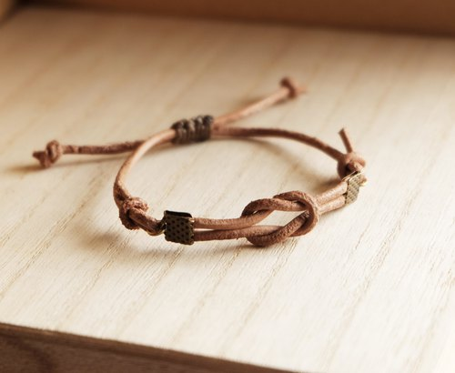 Tie the knot genuine leather in natural tan bracelet unisex adjustable bracelet