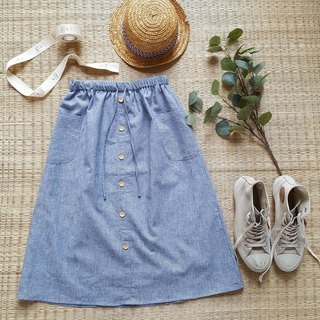 Linen skirt with Wooden bottons - Blue stripe