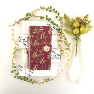pajour) Bordeaux color Mimosa pattern notebook type smart case [Autumn-Winter] [Flower Pattern] [Bordeaux]