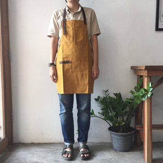 New Mustard Canvas Apron no.04 Copper rivets one pockets Neck Leather