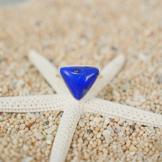 Lapis lazuli triangle silver ring
