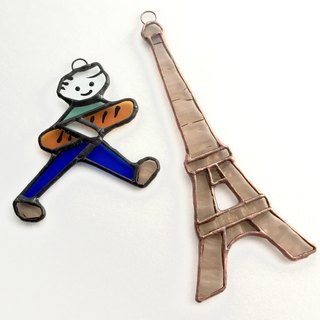 Stained glass sun catcher Eiffel tower beige