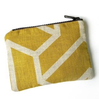 Linen Small Purse, Geometric Zipper Pouch, Mustard Yellow, Padded, Japanese, Minimalist