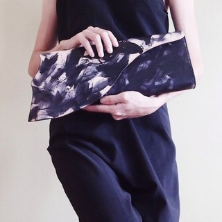 Black Leather Clutch Bag for Dinner / Gala  / Cocktail Party / events - Hand-painted Classy Statement Evening Clutch Bag