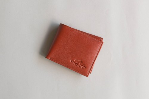 UNISEX SHORT WALLET MADE OF VEGETABLE TANNED COW LEATHER FROM THAILAND-BROWN