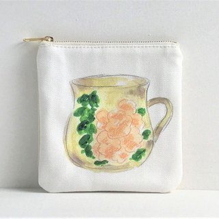 Gardeners' Tea Party Square Flat Pouch Mug Cup Pattern Orange