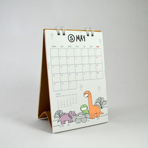 Rawr the Dinosaurs 2017 calendar (small, desk calendar, reusable)