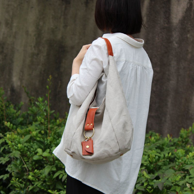 polta-linen-red brown linen canvas bag